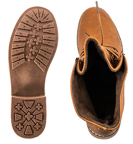 best-boots Damen Stiefelette Boots Worker Stiefel Camel /