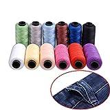 Candora - set di filo da cucito per jeans, in poliestere, 12bobine colorate, 165m, filo molto spesso per denim, cuoio, trapunte, coperte, cuscini, tende, per lavoro manuale