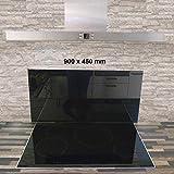 Glasrückwand Spritzschutz Glas Küchenrückwand schwarz 900x450mm MIT Klebepunkten