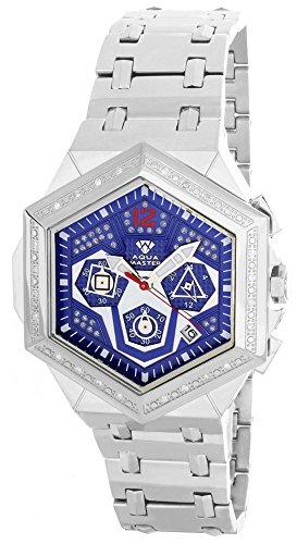 Aqua Master hombres del diamante bisel azulado esfera plateada cronógrafo reloj W356