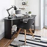 Corner Home Office Desk Computer Workstation PC Laptop Table with shelves (Black)