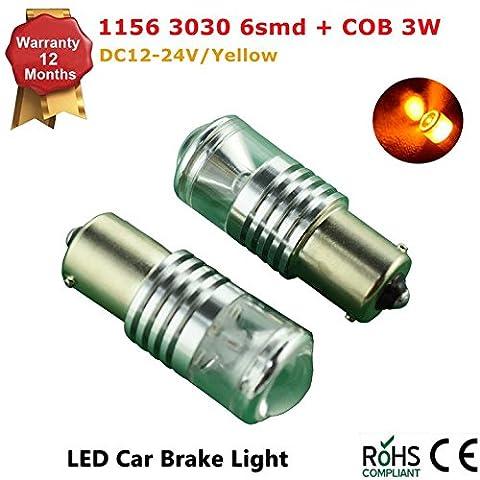 2Pcs LED Car Lights Bulb 1156 Ba15s 6 SMD 3030 COB LED Backup Signal Blinker Tail Light BULBS 12V-24V Replacement for Cars -Yellow