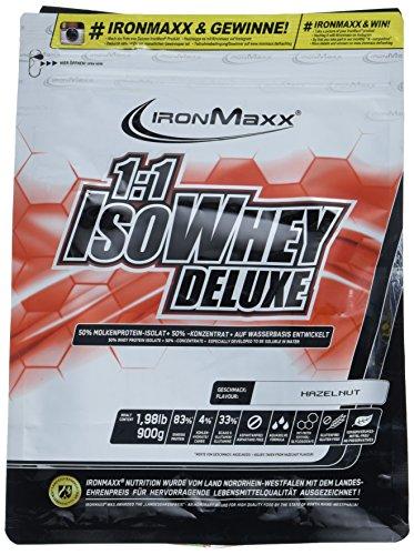 IronMaxx 1:1 IsoWhey Deluxe Haselnuss – Mehrkomponenten Proteinpulver aus Whey Isolat & Whey Konzentrat – 1 x 900g