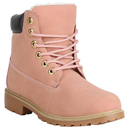 Damen Stiefeletten Outdoor Worker Boots Warm Gefütterte Schuhe 152260 Rosa Brito 40 Flandell