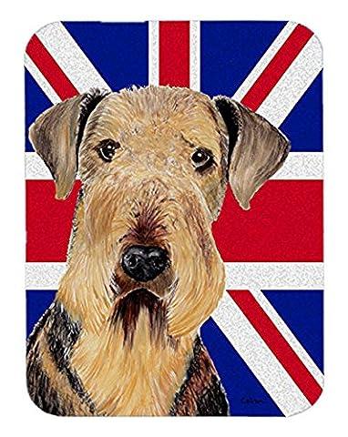 Airedale avec anglais union jack drapeau britannique Souris Pad, Hot Pad ou Dessous de Plat sc9830mp