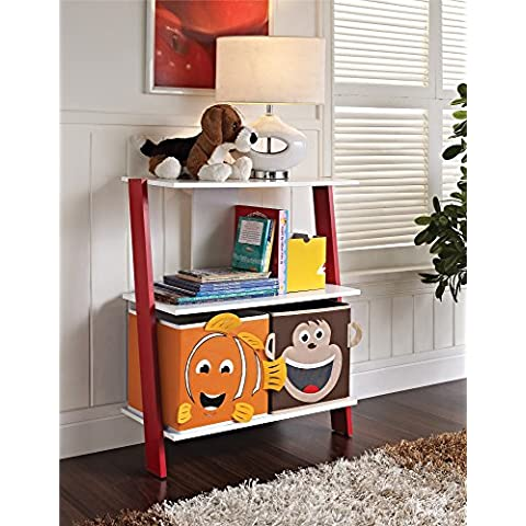 Altra Kids Ladder Bookcase with 2-Animal Face Bins, White/Red by Altra