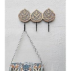 Mano metallo 3 pioli di legno rettangolare muro chiave Montato Porta gancio dei vestiti decorativi Accessori per la casa Accenti