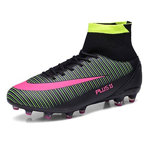 WOWEI Fußballschuhe High Top Spike Cleats Outdoor Athletics Trainingsschuhe Unisex Erwachsene Teenager Fußball Stiefel,Schwarz,EU40