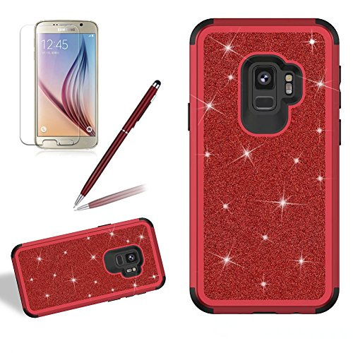 Coque pour Samsung Galaxy S9 Brillant Solide, Girlyard Housse Etui de Protection en Plastiques Dur 3 in 1 Anti choc Cover Case Bling Glitter Etoile Paillette Strass Diamant pour Samsung Galaxy S9 - Rouge