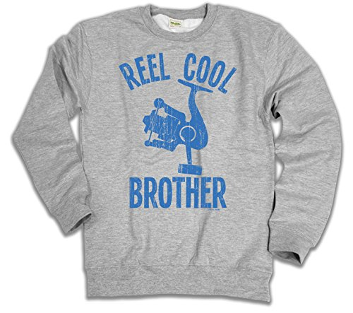 Reel Cool BROTHER Fishing Herren Hoodie or Sweater (Sweater) Grey