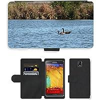 Grand Phone Cases PU Leather Flip Custodia Protettiva Case Cover per // M00141718 Oies rivière Natation Canada Goose Eau // Samsung Galaxy Note 3 III N9000 N9002 N9005