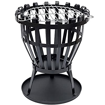 Home Discount Steel Brazier Outdoor Garden Patio Heater Fire Burning Log Wood Burner Basket BBQ Grill Ash Tray