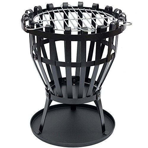 Fire Vida Steel Brazier Outdoor Garden Patio Heater Fire Burning Log Wood Burner Basket BBQ Grill Ash Tray, Round