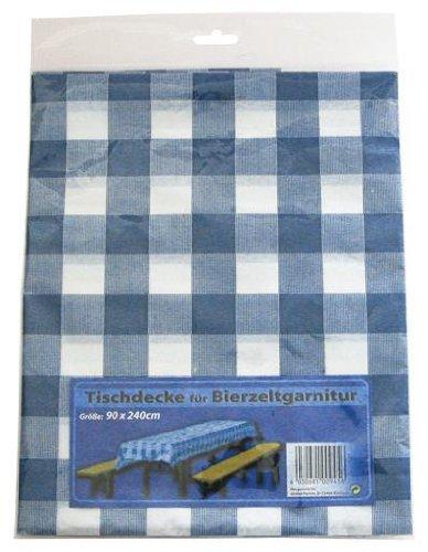 Partytischdecke für Bierzeltgarnitur Kunststoff 90x240cm Blau/Weiß
