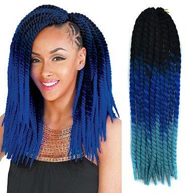 GANTA @ Schwarz ombre saphir blau havana crochet twist zöpfe haare verlängerungen 22 kanekalon 2 strang 120g gaar haare zöpfe , black/blue