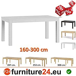 tisch k chentisch esszimmertisch esstisch wenus ausziehbar 300 cm weiss k che. Black Bedroom Furniture Sets. Home Design Ideas
