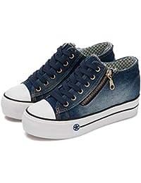 MHX Zapatos de Mujer Zapatos de Lona de Mezclilla Zapatos de Mujer Versión Coreana de los Zapatos de Plataforma Zapatos de Mujer aumentados (Color : Dark Blue, Tamaño : 39)
