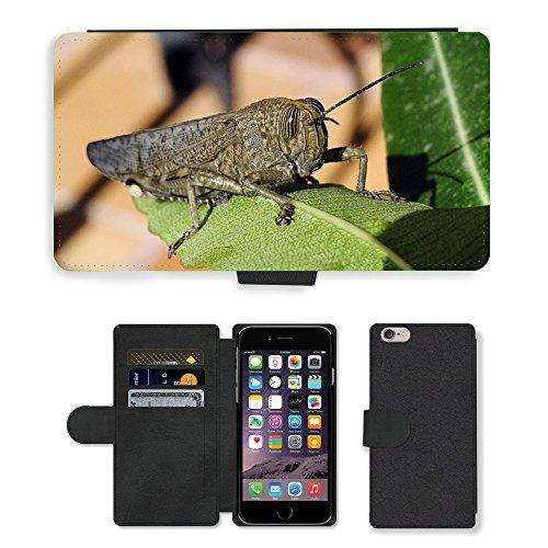 Just Mobile pour Hot Style Téléphone portable étui portefeuille en cuir PU avec fente pour carte//m00139722Sauterelle insectes Macro Eye Nature//Apple iPhone 6Plus 14cm