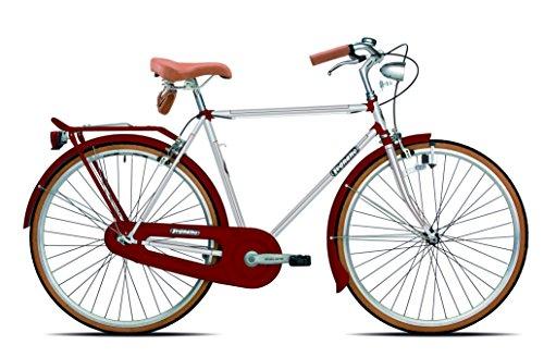 Legnano Ciclo 200 Urban, Bicicletta Vintage Uomo, Bianco/Rosso, 54
