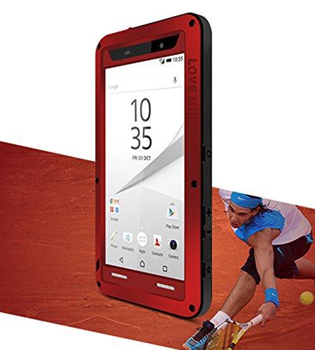Étui pour Sony Xperia Z5Compact (11,7cm), Love Mei marque aluminum-silicone hybride Coque anti-chocs étanche en métal * * * * * * * * * * * * * * * * Garantie de deux ans rouge