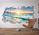 Carta da Parati 3D Effetto (87 x 48 cm, Adesivi 3D Vista dalla Spiaggia Decorazioni Murali)