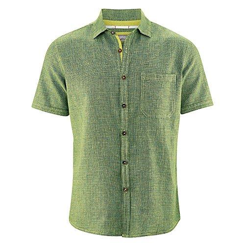 d42a3f1e3a91 Hempage Herren Kurzarm Hemd Heath aus Hanf und Bio-Baumwolle (M, Apple)