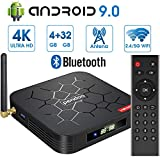 Android 9.0 TV Box 【4GB RAM+32GB ROM】 Android TV Box, Dual-WiFi 2.4GHz / 5GHz H6 Bluetooth Quad Core 64 bits 3D / 4K Full HD / H.265 /...