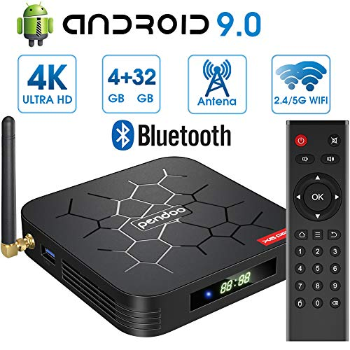 Última Android 9.0 TV Box 【4GB RAM+32GB ROM】 Android TV Box, Dual-WiFi 2.4GHz / 5GHz H6 Bluetooth Quad Core 64 bits 3D / 4K Full HD / H.265 / USB3.0 Android Smart TV Box