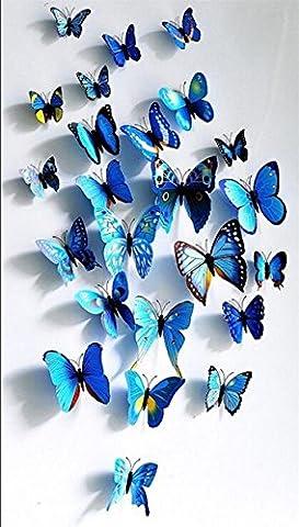 Lot de 12 stickers muraux de Papillons 3D