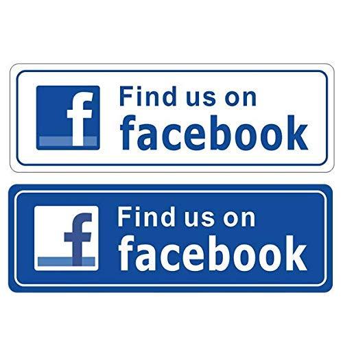 """eSplanade Aufkleber für drinnen und draußen, 22,9 x 7,6 cm,\""""FIND US ON Facebook\"""", Blau & Weiß, für Business Store, Shop, Café, Büro, Restaurant, Auto - Rückseite selbstklebendes Vinyl"""