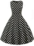 FAIRY COUPLE 50s Vintage Retro Floral Cocktail Swing Party Dress with Bow DRT017(M, Black White Dots)