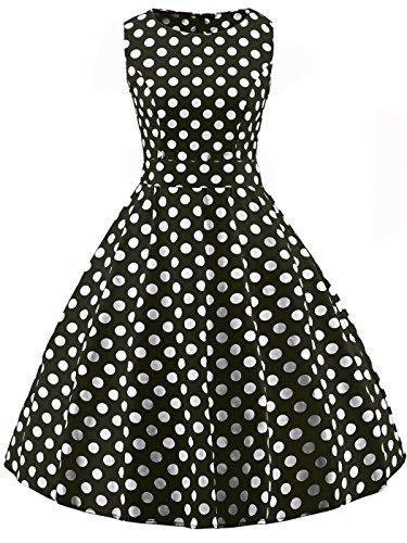 FAIRY COUPLE 50s Retro Blumen Cocktail Schwingen Party Kleid mit Bogen DRT017(XL,Schwarz-weiße Punkte) Weiß Junior Kleider