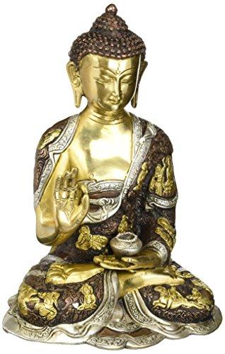 craftvatika 30,5cm groß Vitarka Mudra Buddha Statue Metall Messing Skulptur Buddha-Statue Home Decor Geschenk (Statue Buddha Messing Große)