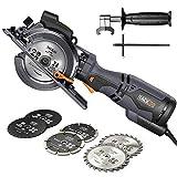 TACKLIFE Sega Circolare Compatta, 6 Lame (120 mm e 115 mm), Guida Laser, 710 W, Profondità di taglio 42,9 mm (90°), 34,9 mm (45°), Impugnatura in Metallo, Versatile per Legno, Metallo Morbido