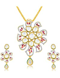 Sukkhi Ritzy Gold Plated CZ Pendant Set For Women