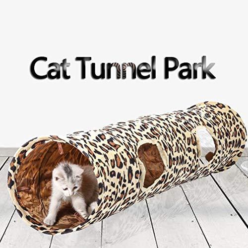 Motto.h Katzentunnel mit 2 Löchern, Motiv Leopard, Spielröhren für Katzen, Zelt
