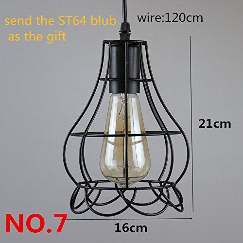 Yaojiaju Retro- Leuchten, Weinlese-hängende LED beleuchtet Retro- Innenbeleuchtung 5 Arten schwarze Eisen-Käfig-Lampenschirm-Lager-Art-Lichter LED (Design : 3)
