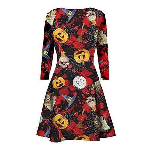 amen Neu Kürbis Schädel web kittel print Flared fancy kostüm Halloween mini Schwingen Kleiden (45 Grave Halloween)