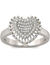 Naitik Jewels 925 Sterling Silver Heart Shape Antique Design Diamond Ring For Women