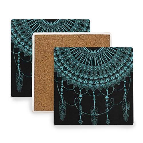 Posavasos con diseño de atrapasueños azul FANTAZIO para copas de vino, tazas y tazas, madera, 1, 4 pieces set