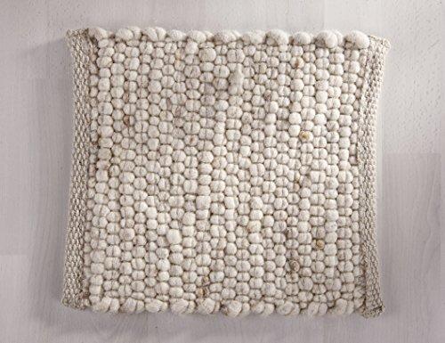 Tisca GRÖNLAND SKY handgewebter handweb teppich für das Wohnzimmer, Esszimmer, Schlafzimmer und die Küche geeignet (Muster, 13 dunkel beige)