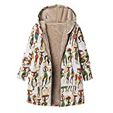 Cinnamou Mode Femmes Hiver Chaud Outwear Imprimé Floral Pochettes À Capuche Vintage Manteaux Oversize Manteau (XL, Hot)