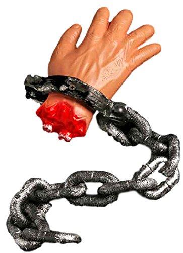 Chained Hand Requisiten Halloween Dekoration Party Spaß Verkleidung Sägekett blutig Schnitt
