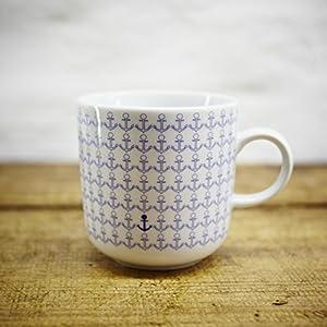 Kaffeebecher / Becher maritimes Design Anker, Ankermuster- Porzellan blau-weiss von Ahoi Marie