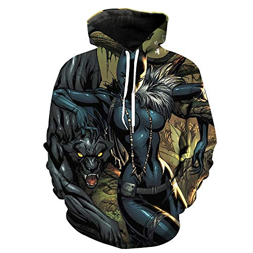 DTYTX 3D HD Unisex Hoodie Print Sweatshirts Mantel Tops Pullover Cosplay Langarm Sportbekleidung Black Panther M -