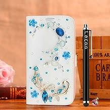 Locaa(TM) For Alcatel OneTouch Pop 3 Pop3 5.5 inch 3D Bling Case Funda Accesorios Funda Bumper Shell Caso Phone Cover Cas Alta Calidad Piel Cuero Para Protector Dura [2] Blanca - Luz luna