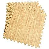 12 Stück Schutzmatten Set Bodenschutz Matte Bodenschutzmatte Puzzlematte Gymnastikmatte Unterlegmatte Bodenmatte (Holzmaserung)