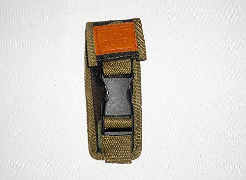 Fallschirmjäger Tarn (AK-47 CCCP Gürteltasche , Holster 14 cm für klassisches Militär Klappmesser Fallschirmjäger , Lederschild gestanzt mit : AK47 CCCP ! NEU ! OVP !)
