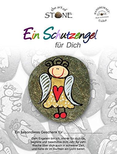 The Art of Stone - Schutzengel Gold-rotes Herz - Glücksstein mit Engel - Handbemalter Naturstein als Glücksbringer oder DecosteinGlücksbringer oder Talisman -