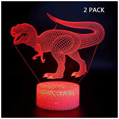 Halloween Geburtstagsgeschenk Dinosaurier 3D Lampe Illusion neben Licht, 7 Farben USB Charge Touch Remote Nachttischlampe Beleuchtung für Kinder Kind